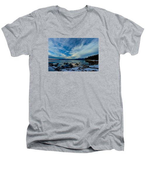 Snowgasm Men's V-Neck T-Shirt by Sean Sarsfield