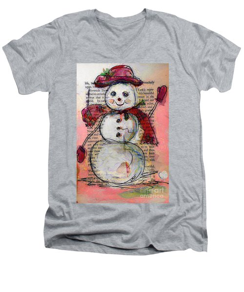 Snowman With Red Hat And Mistletoe Men's V-Neck T-Shirt