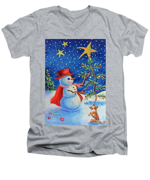 Snowmas Christmas Men's V-Neck T-Shirt by Li Newton