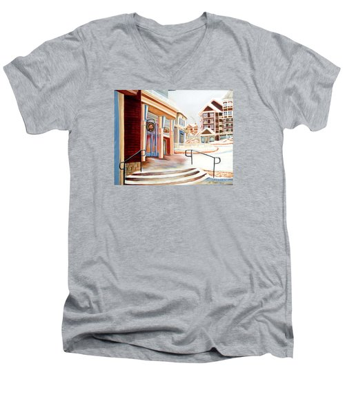 Men's V-Neck T-Shirt featuring the painting Snowshoe Village Shops by Shelia Kempf