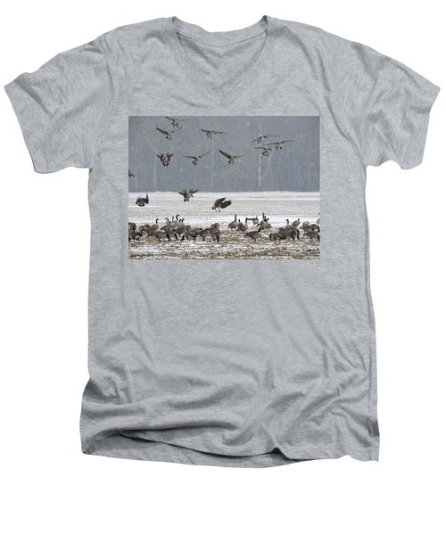 Snowy Approach Men's V-Neck T-Shirt