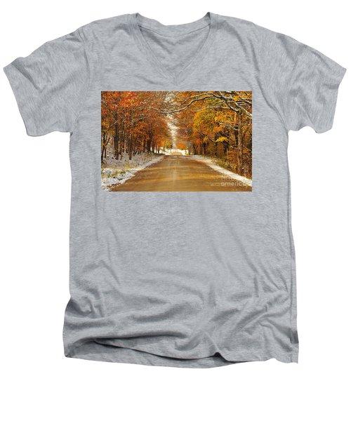Snowy Autumn Morning In Pure Michigan Men's V-Neck T-Shirt