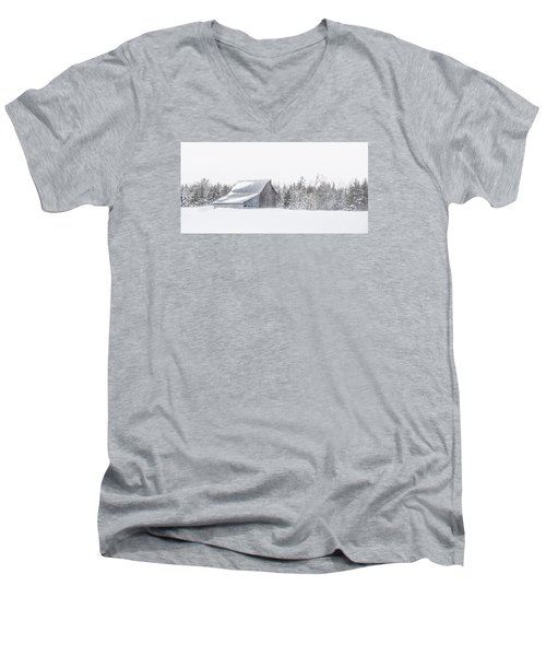 Men's V-Neck T-Shirt featuring the photograph Snowy Barn by Dan Traun