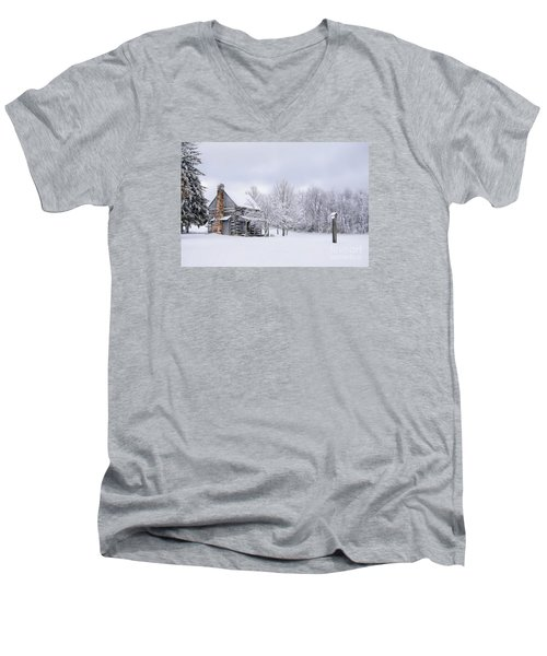 Snowy Cabin Men's V-Neck T-Shirt by Benanne Stiens