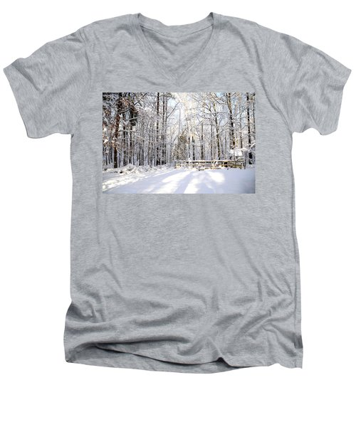 Snowy Chicken Coop Men's V-Neck T-Shirt
