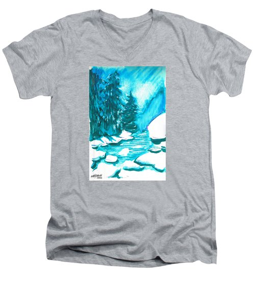 Men's V-Neck T-Shirt featuring the mixed media Snowy Creek Banks by Seth Weaver