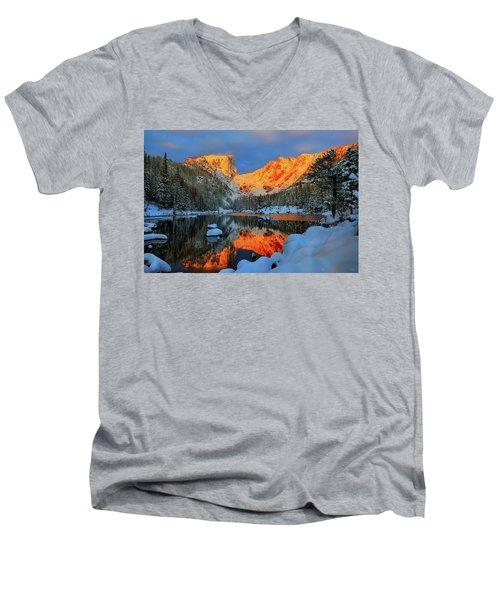 Snowy Dawn At Dream Lake Men's V-Neck T-Shirt