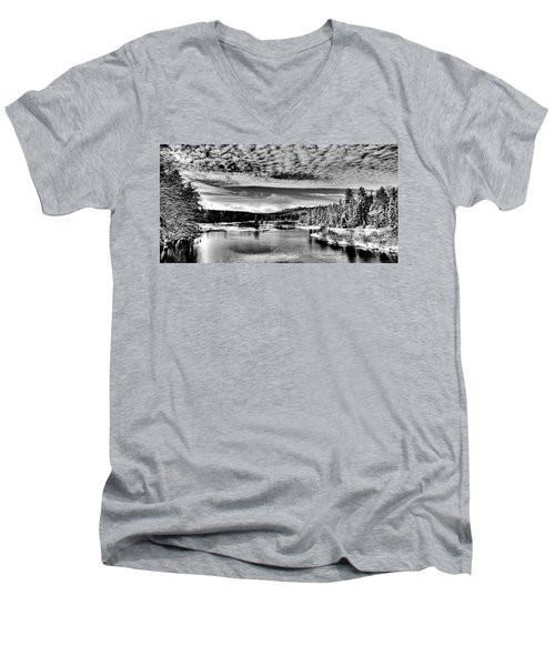 Snowy Day At The Green Bridge Men's V-Neck T-Shirt by David Patterson