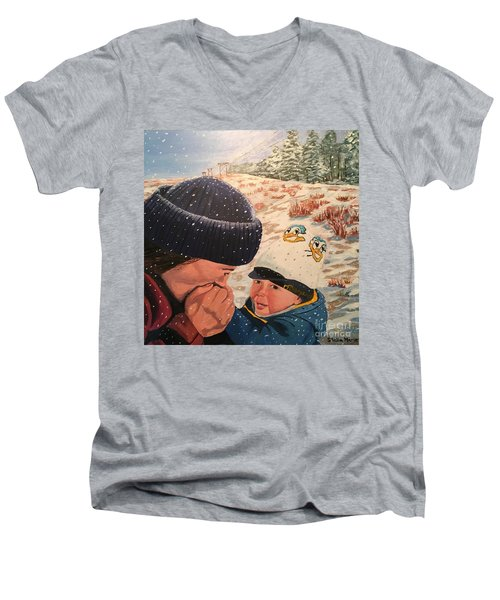 Snowy Day With My Dad Men's V-Neck T-Shirt