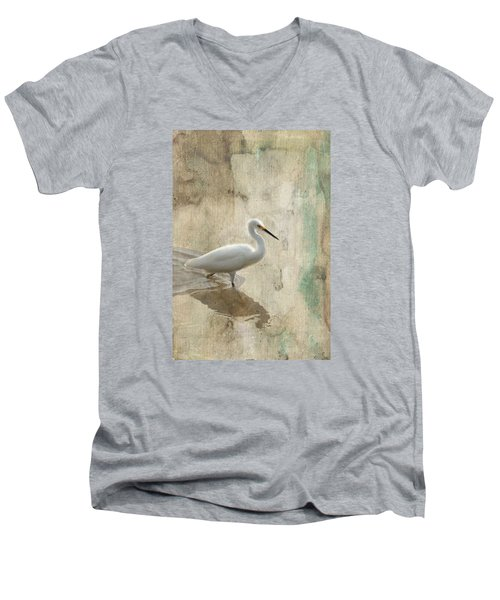 Men's V-Neck T-Shirt featuring the mixed media Snowy Egret In Grunge by Rosalie Scanlon