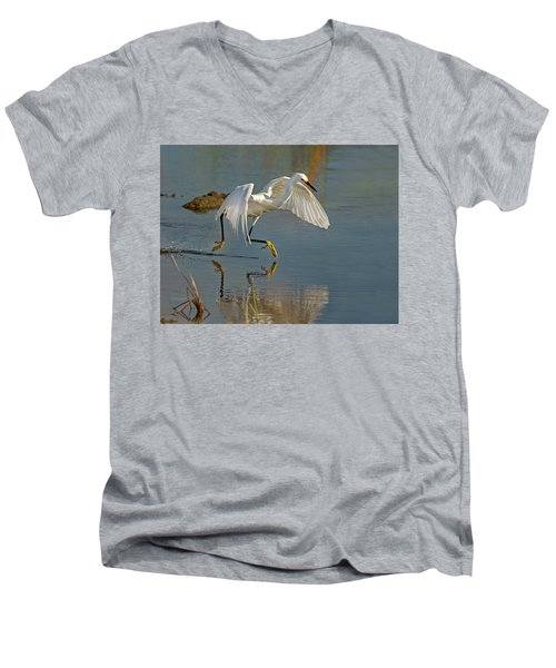 Snowy Egret On The Move Men's V-Neck T-Shirt