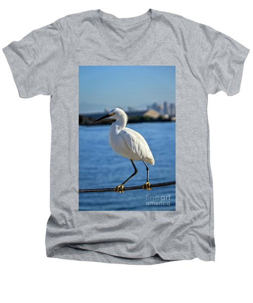 Snowy Egret Portrait Men's V-Neck T-Shirt by Robert Bales