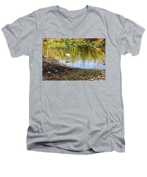 Snowy Egret Reflections Men's V-Neck T-Shirt