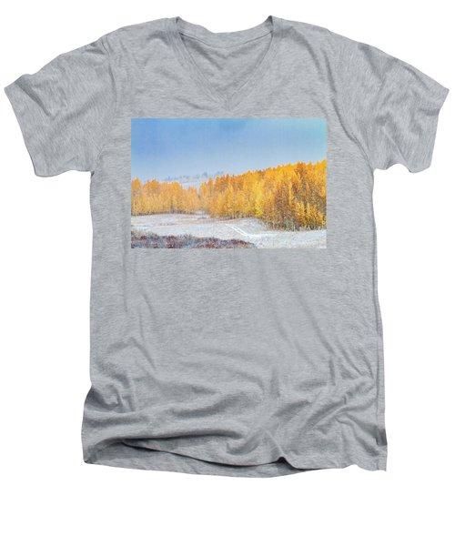 Snowy Fall Morning In Colorado Mountains Men's V-Neck T-Shirt