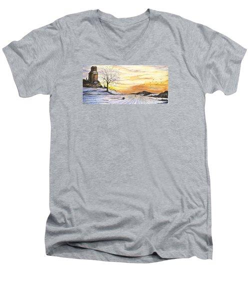 Men's V-Neck T-Shirt featuring the digital art Snowy Farm by Darren Cannell