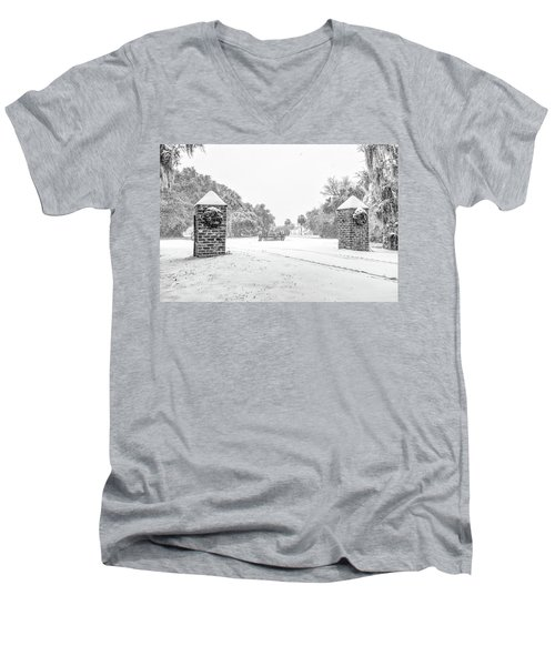 Snowy Gates Of Chisolm Island Men's V-Neck T-Shirt