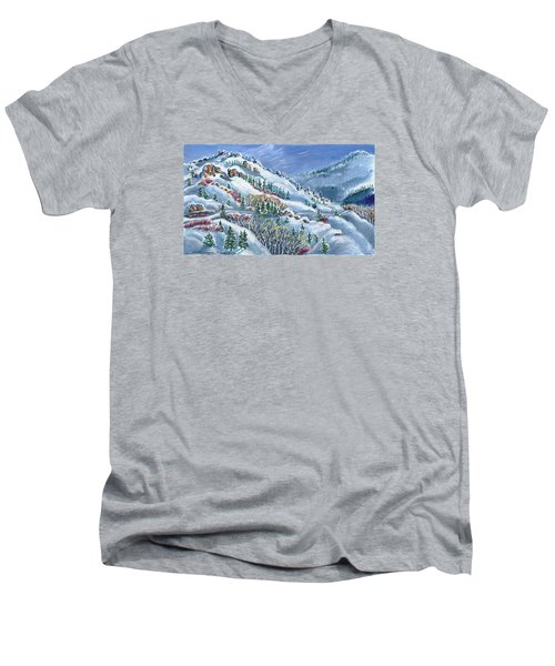 Snowy Mountain Road Men's V-Neck T-Shirt