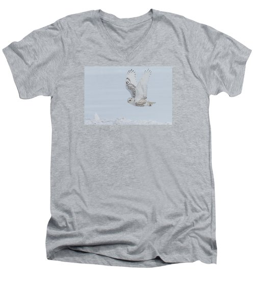 Men's V-Neck T-Shirt featuring the photograph Snowy Owl #3/3 by Patti Deters