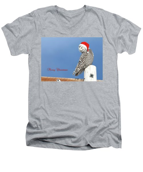 Men's V-Neck T-Shirt featuring the photograph Snowy Owl Christmas Card by Everet Regal