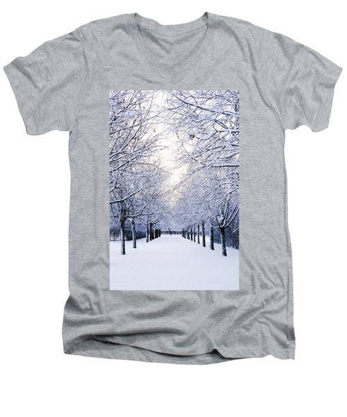 Snowy Pathway Men's V-Neck T-Shirt