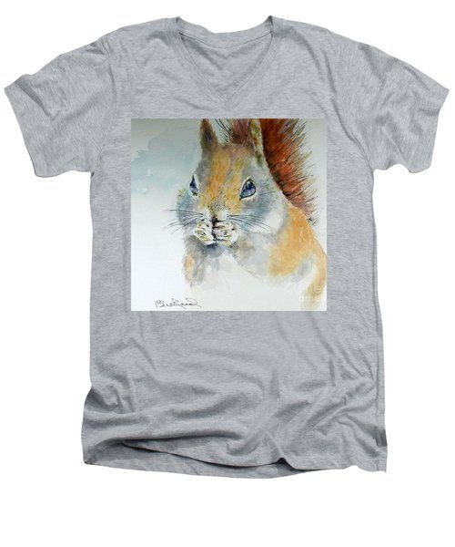 Snowy Red Squirrel Men's V-Neck T-Shirt by William Reed