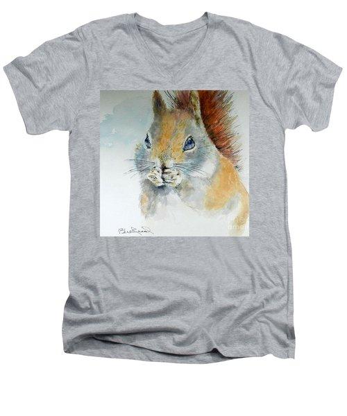 Snowy Red Squirrel Men's V-Neck T-Shirt
