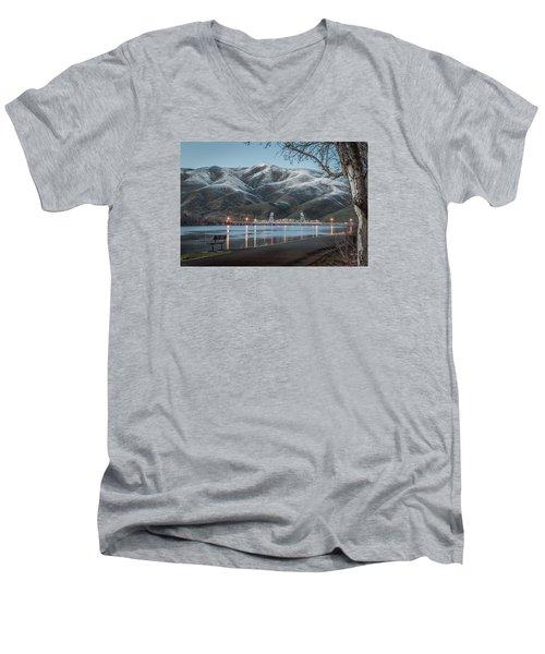 Snowy Star Men's V-Neck T-Shirt by Brad Stinson