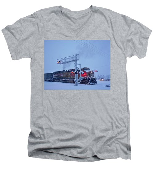 Snowy Train Crossing  Men's V-Neck T-Shirt