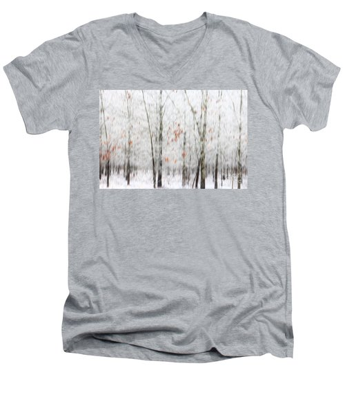 Men's V-Neck T-Shirt featuring the photograph Snowy Trees Abstract by Benanne Stiens