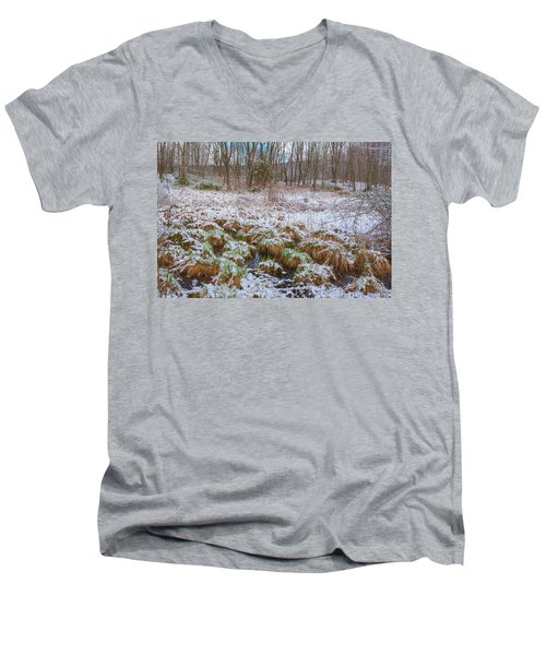 Snowy Wetlands Men's V-Neck T-Shirt by Angelo Marcialis
