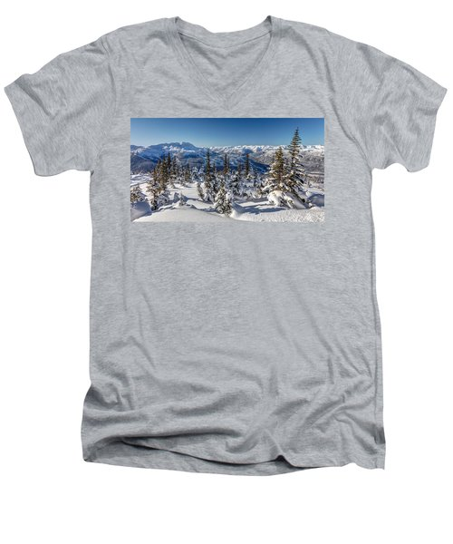 Snowy Whistler Mountain  Men's V-Neck T-Shirt