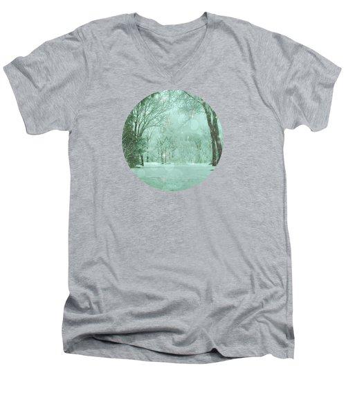 Snowy Winter Night Men's V-Neck T-Shirt by Mary Wolf
