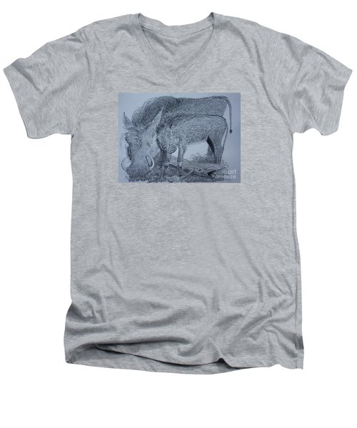 Snuggle Men's V-Neck T-Shirt by David Joyner