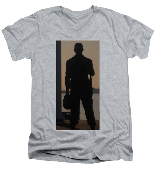 Men's V-Neck T-Shirt featuring the photograph So Help Me God by John Glass
