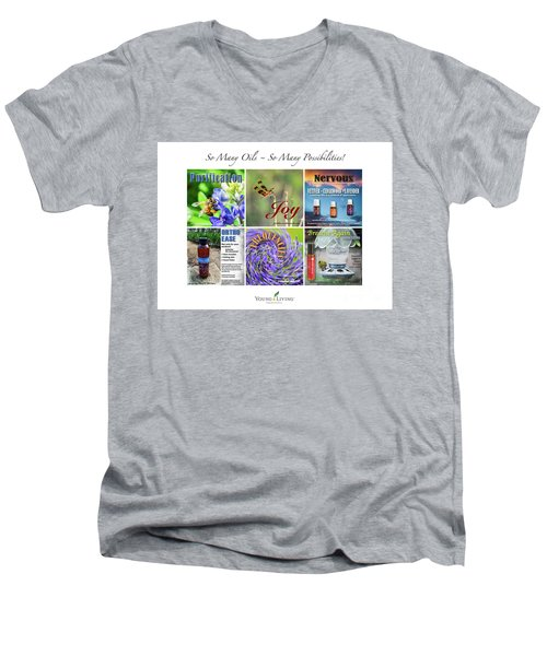 Men's V-Neck T-Shirt featuring the digital art So Many Oils by Cheryl McClure