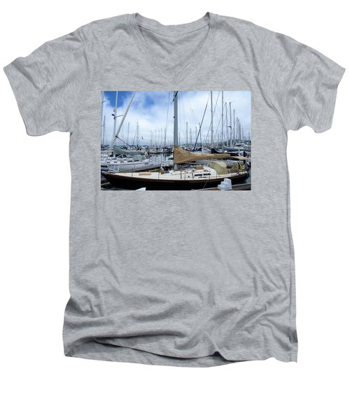 So Many Sailboats Men's V-Neck T-Shirt by Laura DAddona
