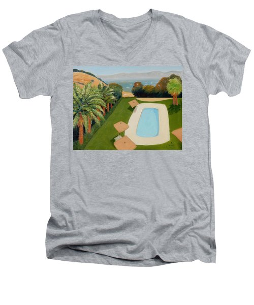 Men's V-Neck T-Shirt featuring the painting So Very California by Gary Coleman