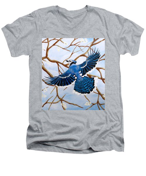 Men's V-Neck T-Shirt featuring the painting Soaring Blue Jay  by Teresa Wing