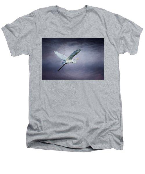 Soaring Egret Men's V-Neck T-Shirt