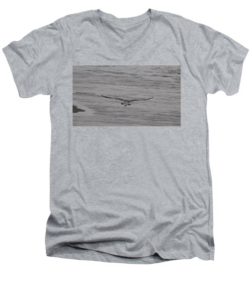 Men's V-Neck T-Shirt featuring the photograph Soaring Gull by  Newwwman