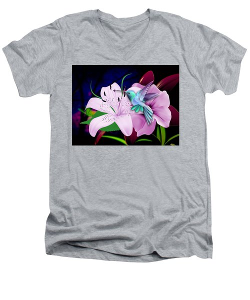 Men's V-Neck T-Shirt featuring the mixed media Soaring by Marvin Blaine