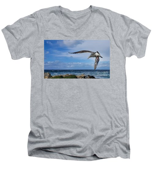 Soaring Seagull  Men's V-Neck T-Shirt by Gina Savage