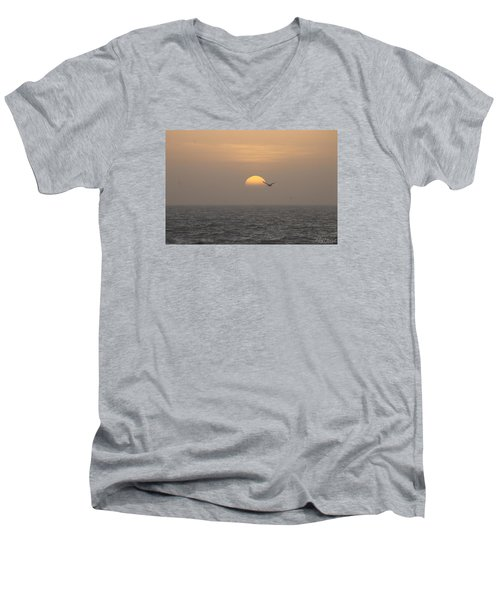 Men's V-Neck T-Shirt featuring the photograph Soaring Through Sunrise by Robert Banach