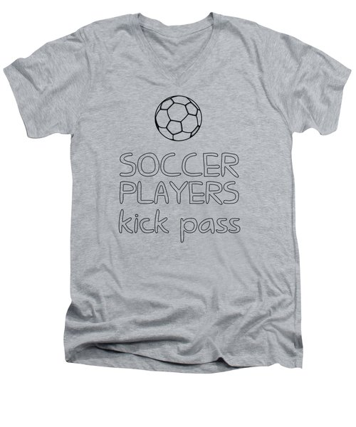 Soccer Players Kick Pass Poster Men's V-Neck T-Shirt