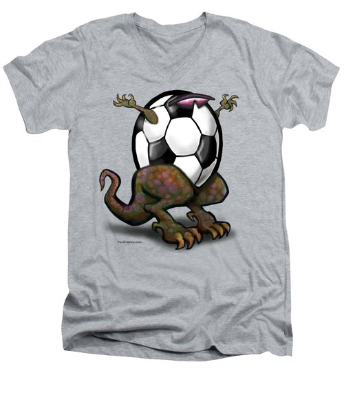 Soccer Saurus Rex Men's V-Neck T-Shirt
