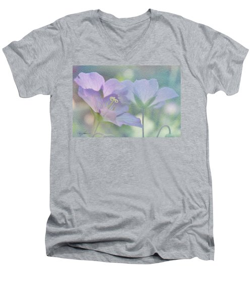 Men's V-Neck T-Shirt featuring the photograph Soft Blue by Ann Lauwers