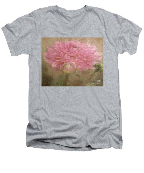 Soft Graceful Pink Painted Dahlia Men's V-Neck T-Shirt by Judy Palkimas