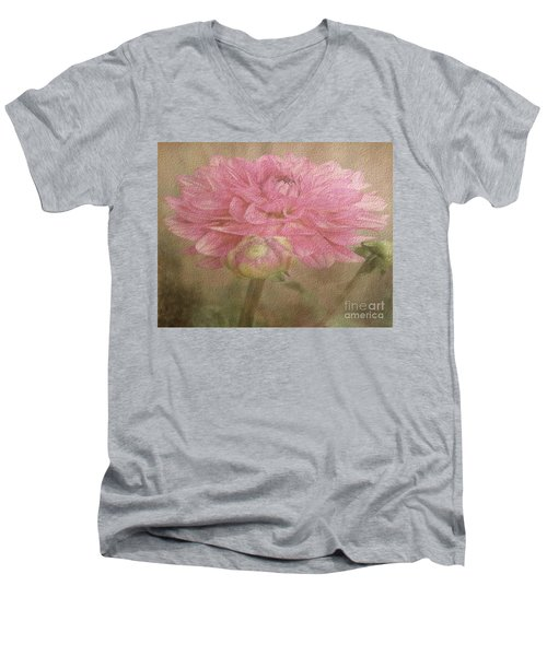 Soft Graceful Pink Painted Dahlia Men's V-Neck T-Shirt