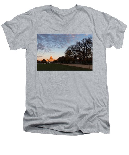Soft Orange Glow - U S Capitol And The National Mall At Sunset Men's V-Neck T-Shirt