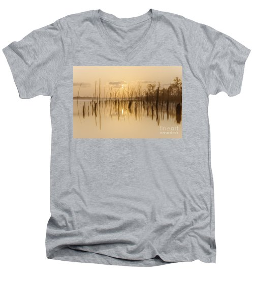 Soft Peach Sunrise At Manasquan Men's V-Neck T-Shirt